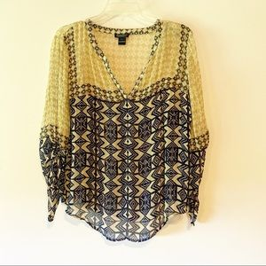 Lucky Brand Blouse Shirt Long Sleeve Boho Large
